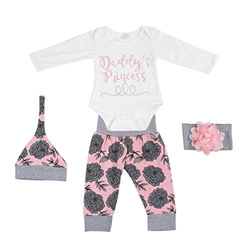 Conjuntos de ropa para niña, mameluco de manga larga para niños pequeños + pantalones cortos + traje de diadema(90)