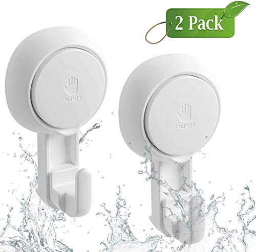 LUXEAR Suction Hooks Powerful Vacuum Suction Cup Hooks- Heavy Duty Shower Hooks Waterproof Suction Hanger for Bathroom Kitchen Towel, Robe, Loofah Removable and Reusable Hooks for Bags Coat (2 Pack)
