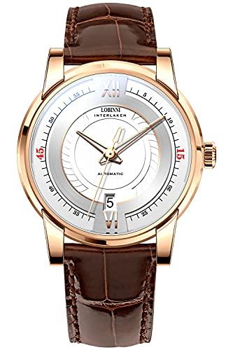 Lobinni Relojes de pulsera impermeables de la fecha del acero inoxidable de la manera de los hombres,Reloj impermeable de la banda de, rosa - blanco ,