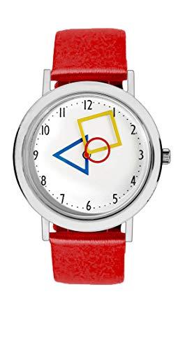 Aristo Unisex Bauhaus Quarz-Uhr RGB | Bauhaus Feat. Mondrian | Lederarmbanduhr | 100 Jahre Bauhaus (rot)