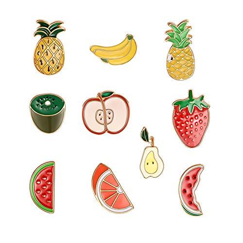 Lumanuby 1 Set Bunt Obst Brosche Glasur von Ananas, Kiwis, Apfel, Erdbeere, Birne, Wassermelone, Banane Anstecker mit Pin für Jacken Mantel Tasche Hut Schal von Damen und Mädchen, Brosche Serie