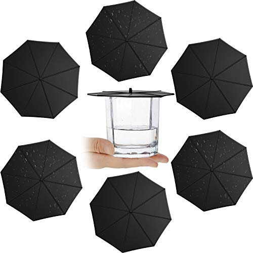 6 Pieces Silicone Cup Lids Umbrella Mug Cup Lid Covers Anti-Dust Silicone Glass Cup Covers Coffee Cup Suction Seal Lid Caps to Keep Drink Warm or Cold (Black)