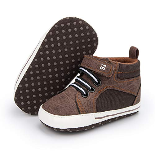 Mybbay Infant Baby Boy Girl Soft Sole Canvas Sneakers High Top Booties Ankle Shoes Toddler Newborn Prewalker First Crib Shoes, 01 Brown, 12-18 Months Infant