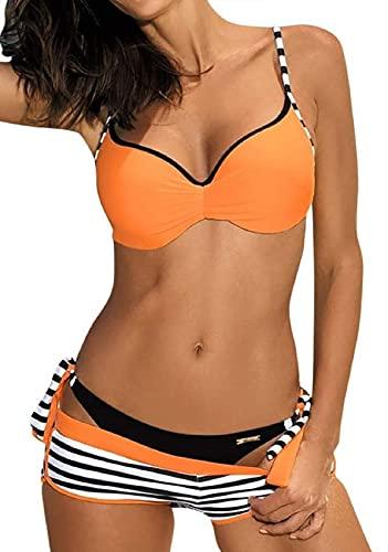 Voqeen - Bañador para mujer, bañador con brasiletas, 3 piezas, con pantalones cortos azul XL