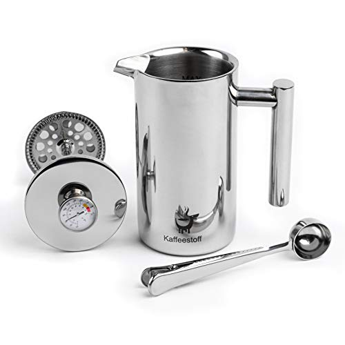 Kaffeestoff French Press mit Thermometer | Kaffeebereiter French Press Edelstahl für 3 Tassen 0,7 l | Coffee Maker mit Thermoskanne | aromatischen Kaffee einfach und schonend zubereiten