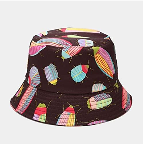 Bucket Hat Hut Damen Herren Drucken Eimer Hut Frauen Baumwollmütze Outdoor Mode Strand Sonne Weibliche Panamahut-Kaffee