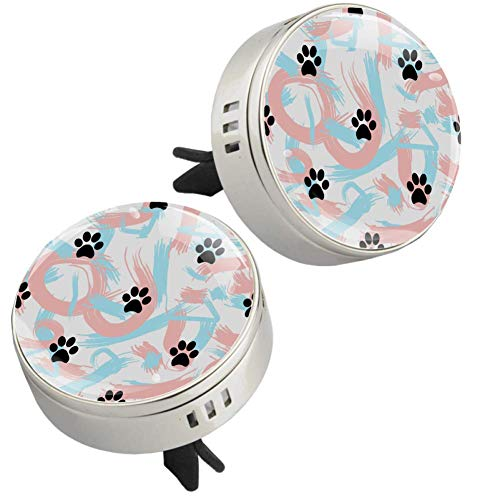 Z&Q Car Air Freshener Black Dog Paw Print Car Aromatherapy Diffuser Interior Decoration Accessories Essential Oil Diffuser for Car Home Silver 1.33inX1.83in