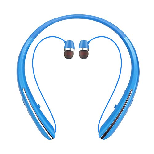 Bluetooth Headphones, Retractable Earbuds Wireless Neckband Headset Sports Sweat-Proof Stereo Earphones with Mic (15 Play time, 2021 Upgraded) (Blue)