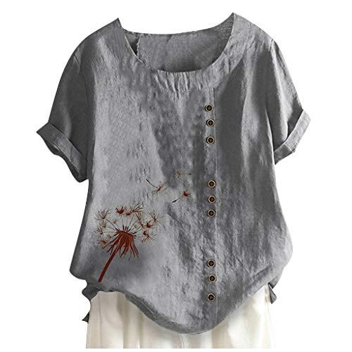 TAMALLU Frauen Bluse Komfort Gedruckt O-Ausschnitt Basic Stilvoll Casual Einfach Tastes Bluse(Grau,3XL)