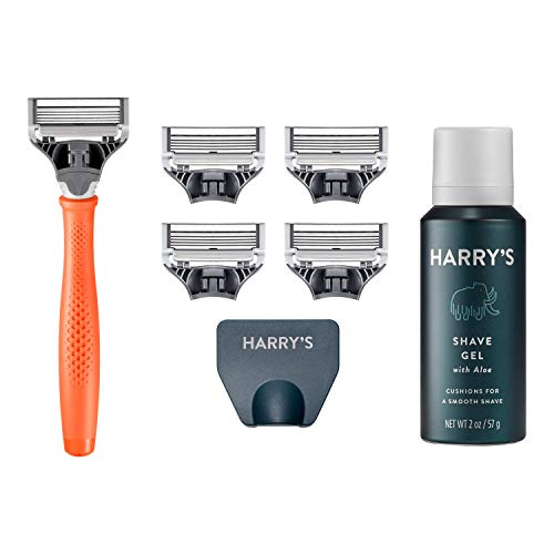 Harry's Razors for Men - Men's Razor Set with 5 Razor Blade Refills, Travel Blade Cover, 2 oz Shave Gel (Bright Orange)