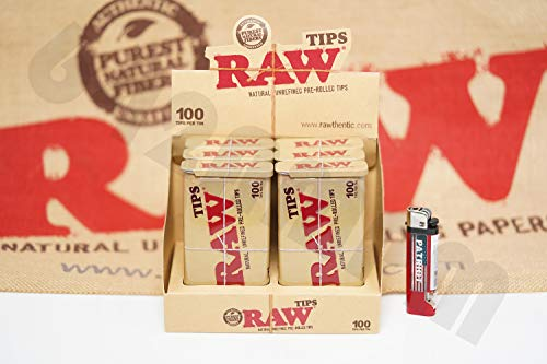 Bundle - 2 Items - Full Box 6 Tins(100 Tips Per Tin) Of AUTHENTIC Raw Rolling Paper Pre-Rolled Tips And Patriot Lighter