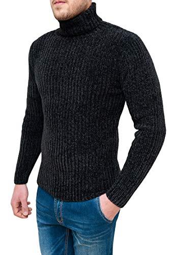 Evoga Pullover Dolcevita Uomo a Collo Alto Invernale in ciniglia (XL, Nero)