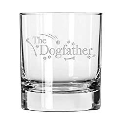 "Whiskey glass with the words ""The Dogfather"" etched on the front."