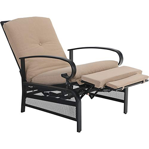 PHIVILLA Adjustable Patio Recliner Chair Metal Outdoor Lounge Chair with Removable Cushions Support 300lbs, Beige