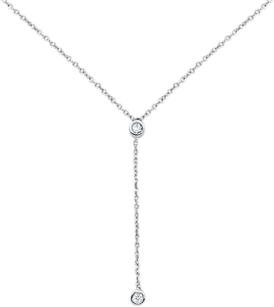 14K Gold, White Gold or Rose Gold 0.06 cttw Diamond Bezel Lariat Drop Pendant Necklace (14, 16, 18 Inches)