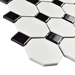 """SomerTile FXLM2OWD Retro Octagon Porcelain Floor and Wall Tile, 11.5"""" x 11.5"""", Matte White with Glossy Black Dot"""