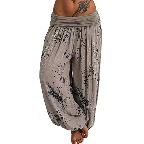 Pantalones Harem para Mujer, Pantalones con Cordones Impresos Digitalmente, Pantalones Anchos Sueltos, Pantalones Casuales De Mujer De Estilo Bohemio