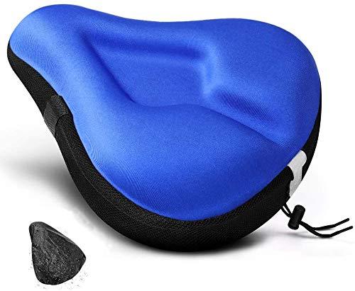 ANZOME Funda para sillín de bicicleta de gel con espuma viscoelástica ancha, funda para sillín impermeable para bicicleta estática, bicicleta eléctrica para mujer, color azul, 28 x 26 cm