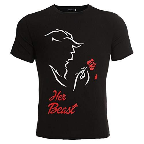 CGQDDP Camiseta Estampada para Parejas Camiseta Holgada con Cuello Redondo para Parejas Top