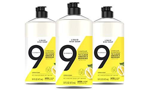 9 Elements Dishwashing Liquid Dish Soap, Lemon Scent Cleaner, 16 oz Bottles (Pack of 3)