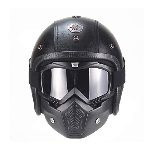 Anan Leren motorhelm, chopper, fietshelm, open gezicht, vintage, motorhelm met goggles-masker, zwart