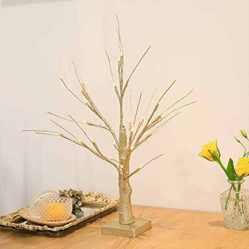 Leruckdite 1.5FT 24LT Warm White LED Birch Tree Light Tabletop Bonsai Tree Light Jewelry Holder Decor for Home Party Wedding Holiday Gold Glitter