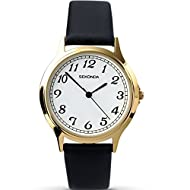 gold plated case white dial black pu strap 2 year guarantee Target gender: male; Band width: 16.0; Calendar type: Does not have a date function; Case diameter: 36.0 millimeters; Clasp type: Buckle; Department name: Unisex-Adult; Dial window material ...