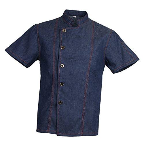 IPOTCH Camiseta de Cocinero Hombres Mujeres Denim Chef Jacket Buttons Baker Jacket Catering Clothing Chef Shirt Ropa de Trabajo para Cocineros - Azul, XL