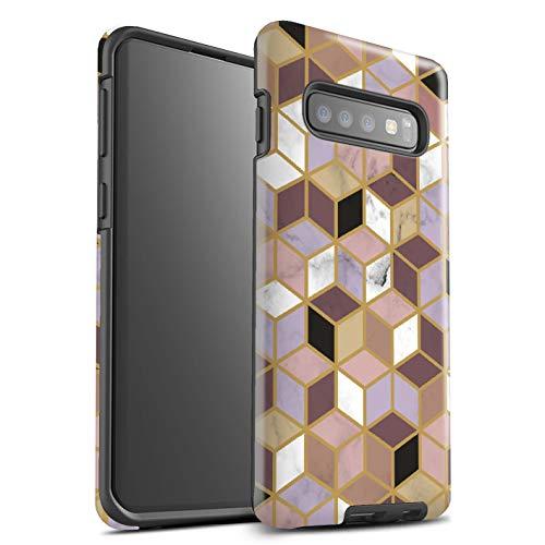 Stuff4® glanzende harde schokbestendige hoes/case voor Samsung Galaxy S10 / geometrische blokjes patroon/geometrisch marmer patroon collectie