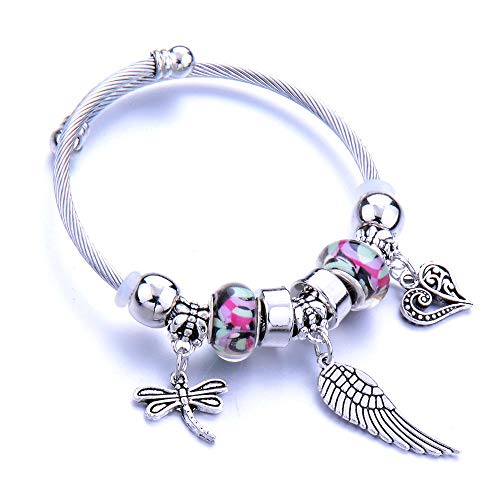 Jewellery Bracelets Bangle For Womens Trendy Elastic Metal Beading Bracelet Feather Jewelry Chain Bangles Beaded Bracelet Jewelry-Imitation_Rhodium_Plated