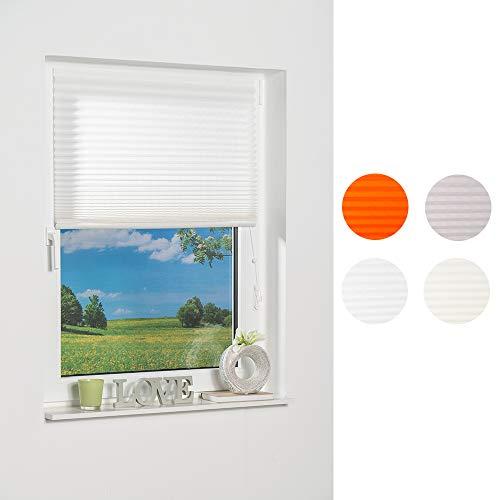 K-home Klebe-Plissee  Weiß Lichtschutz, 70 x 130 (B x L)