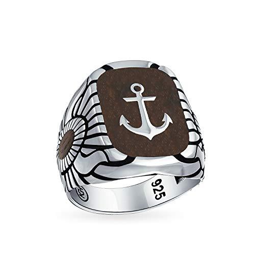 Hombres Náutico Grabado marrón madera insertada gran barco ancla anchor signet anillo para los hombres sólido 925 plata de ley en Turquía