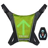 shenkey Chaleco de señal de Giro LED, Chaleco Reflectante LED con indicador de dirección: Control Remoto, Luces de Giro, USB Recargable, fácil instalación para Ciclismo Luz de Advertencia