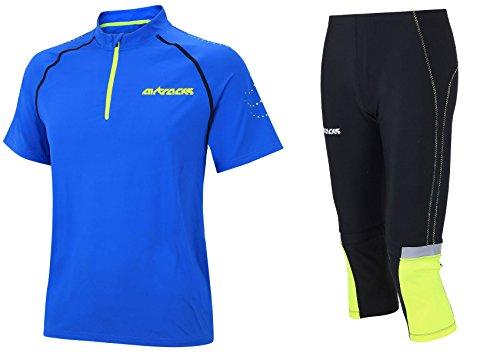 Airtracks Pantalon de course 3/4 long Neon + T-shirt de course à manches courtes Pro Team/respirato/séchage rapide Réflecteur, Homme, bleu roi, m