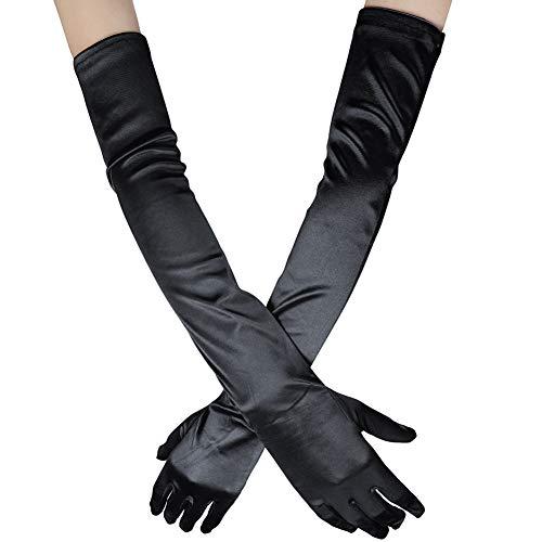 """Xuhan Women's 21"""" Long Full Finger Evening Satin Gloves (Black)"""