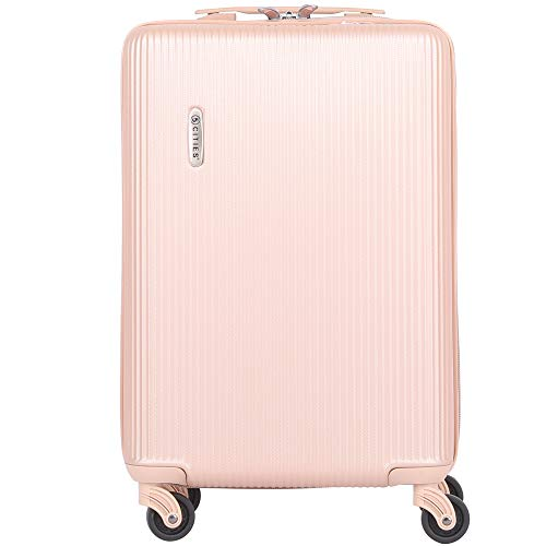 5 Cities Lightweight Hard Shell Carry On Cabin Hand Luggage Suitcase with 4 Wheels for Ryanair, easyJet, British Airways, Virgin and More, Champagne