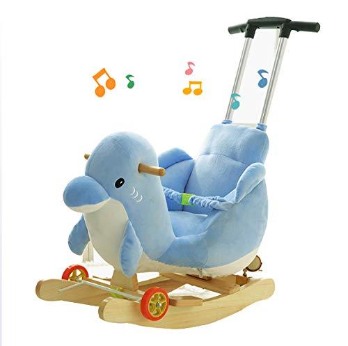 JTYX kinderschommelpaard schommelstoel massief hout met muziek schommelende wiegjes kinderverjaardagscadeau