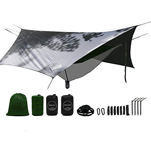 LAZZO Camping Hammock Set All-Inclusive,Double Hammock,Bug Net,Tarp,Suspension,Guyline,Stakes and Backpack,Perfect for Backpacking,Camping,Hiking & Yard (Olive, 10)