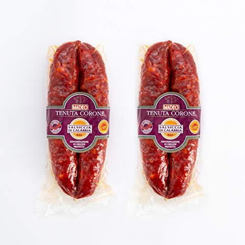 MADEO Salsiccia Calabrese di Suino con Peperoncino Piccante Calabrese - D.O.P. Senza Glutine, 2 x 250g