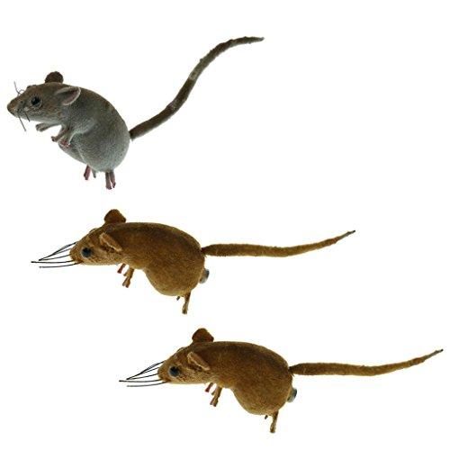 Homyl Realistische Maus Tier Ornament Kühlschrank Magnet Topf Aufhänger Gartendekor Spielzeug - 3pcs