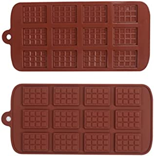 Kindred-Spirits 12 Cavity Silicone Chocolate Bar Molds | 2-Pack | Chocolate Color