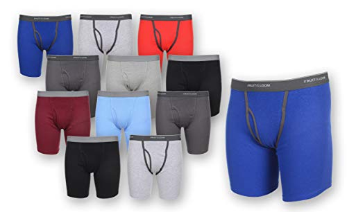 12 Pack of Fruit Of The Loom Mens Tag Free Traditional Boxer Briefs, Assorted, Large