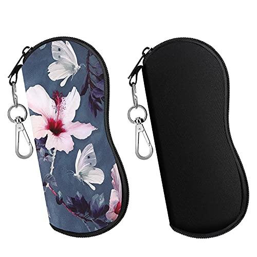 MoKo Brillenetui, 2 Stück Leicht Neopren Reißverschluss Sonnenbrille Tasche mit Gürtelclip für Brillen Rahmen Tragbare Case für Schlüssel Bleistifte Karten, Schwarz+Blumen und Schmetterlinge