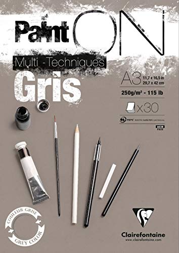 Clairefontaine 975810C paint' on–Bloc encolado 30hojas de papel de dibujo 250g 29,7x 42cm gris