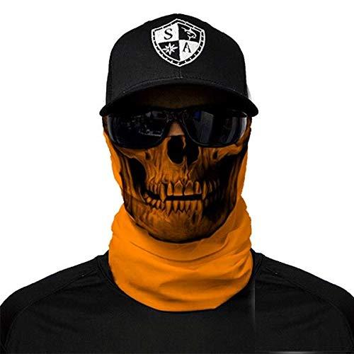 Bandala SA Company SA Fishing Face Shields de calidad, pañuelo multifunción textil con SPF 40, máscara protectora, Orange Skull