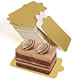 Mini Square Golden Cardboard Cake Base,Single Cupcake Container 100PCS Cake Paper Plates Dessert Board Base Grease-Proof and Freezer-Durable Pastry Cardboard by HANSGO