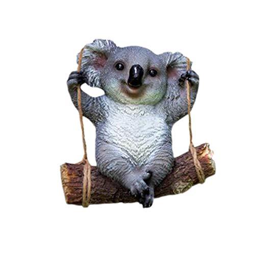 VOSAREA Colgante de Resina Koala Columpio Koala jardín figurilla Patio al Aire Libre Colgante Ornamento decoración