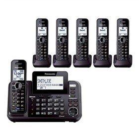 Panasonic KX-TG9542B + Four KX-TGA950B, 6-Handset Cordless System (2 Line) DECT 6.0 1.9Ghz (Renewed)