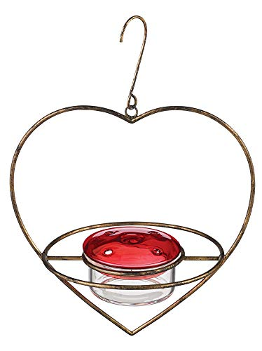 Grasslands Road 465824 Heart Hanging Hummingbird Feeder, 7-inch x 5 3/4-inch x 6 1/2-inch, Glass