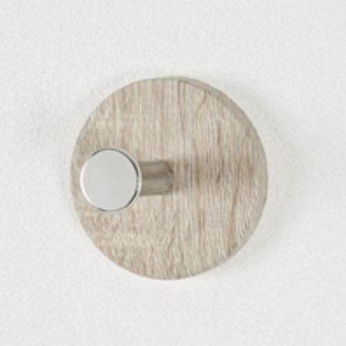 Haku Garderobenknopf, Lieferumfang 6 Stück, aus MDF Dekor Eiche, Garderobenknopf aus Chrom-verrnickeltem Stahl, 42091, 42091